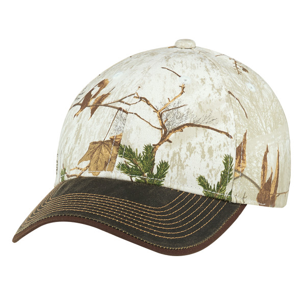 "Brown/Realtree Xtra® Colors ""Snow"" - 6Y638M Pigment Dyed Washed & Brushed Poly/Cotton Cap 