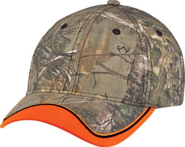 Fluorescent Orange/Realtree Xtra® - 8B043M Brushed Polycotton Camo Cap | Hats&Caps.ca