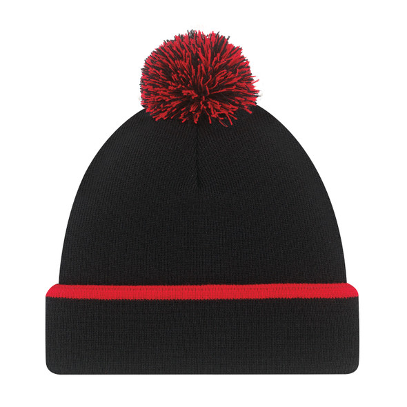Black/Red - 9B063M Acrylic Pom Pom Toque | Hats&Caps..ca