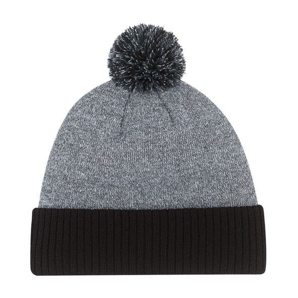 Black/ Charcoal - 9P184M Acrylic Pom Pom with Cuff Toque | Hats&Caps.ca