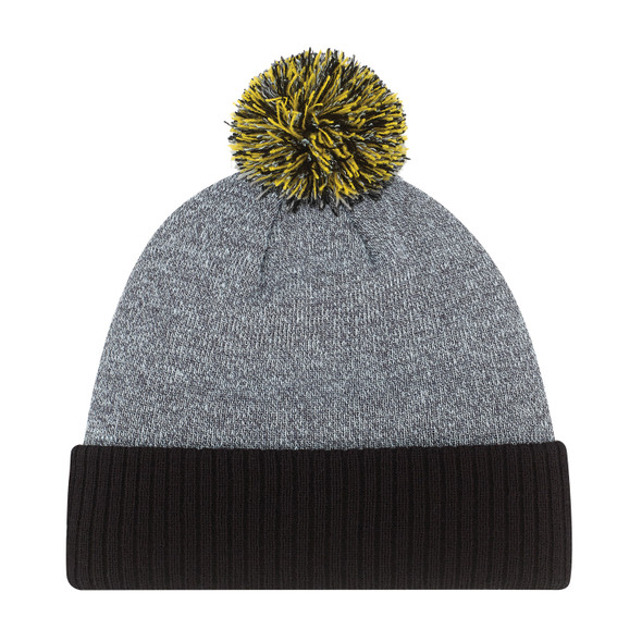Black/ Gold - 9P184M Acrylic Pom Pom with Cuff Toque | Hats&Caps.ca
