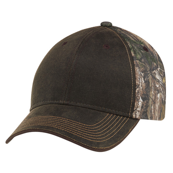 Brown/Realtree Xtra® - 6Y737M Weathered Brushed Polycotton Cap | Hats&Caps.ca