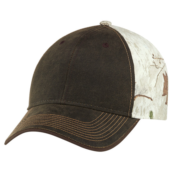 "Brown/Realtree Xtra® Colors ""Snow"" - 6Y737M Weathered Brushed Polycotton Cap 