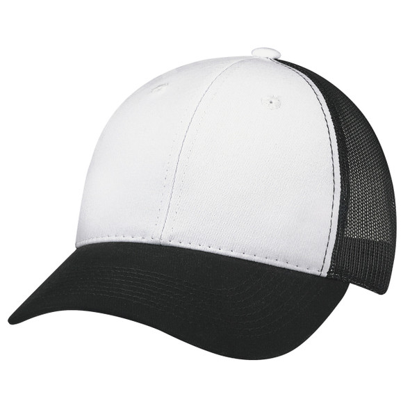 Black/White - 6H641M Enzyme Washed Chino Twill Trucker Cap | Hats&Caps.ca