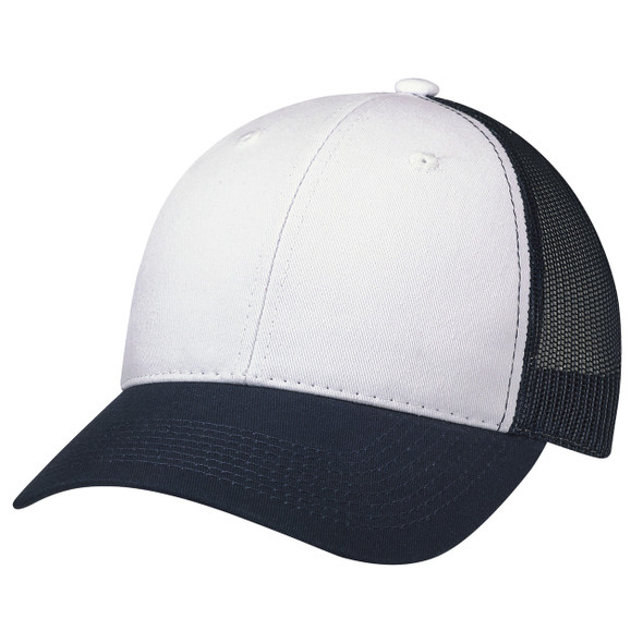 Navy/White - 6H641M Enzyme Washed Deluxe Chino Twill Trucker Cap | HatsandCaps.ca