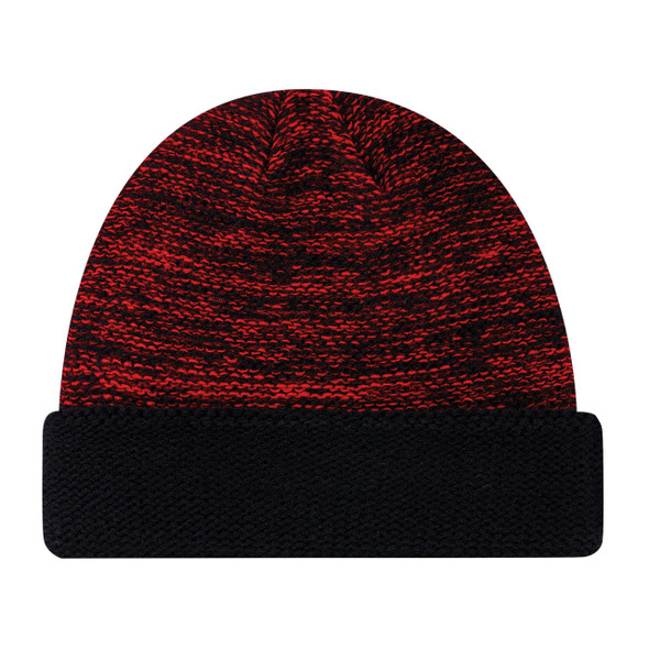 Black/Red - 9U557M Acrylic Cuff Toque  | Hats&Caps.ca