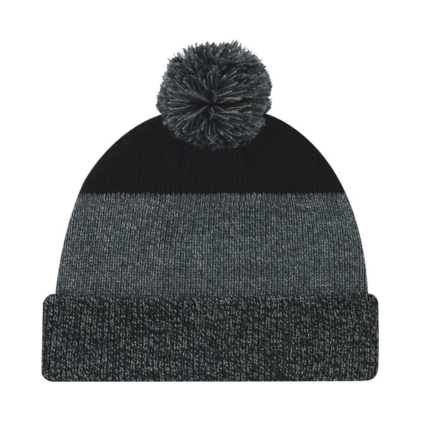 Black/Charcoal - 9T066M Acrylic Cuff Toque with Pom Pom | Hats&Caps.ca