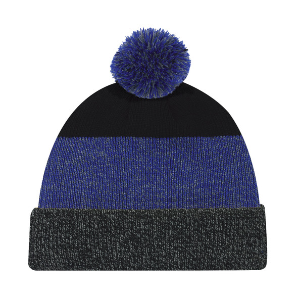 Black/Royal Blue - 9T066M Acrylic Cuff Toque with Pom Pom | Hats&Caps.ca