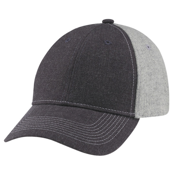 Charcoal/ Grey - 4M639M Wool Serge Heather 6 Panel Constructed Full-Fit Cap | HatsandCaps.ca
