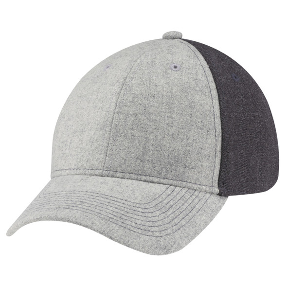 Grey/Charcoal - 4M639M Wool Serge Heather 6 Panel Full-Fit Cap | Hats&Caps.ca