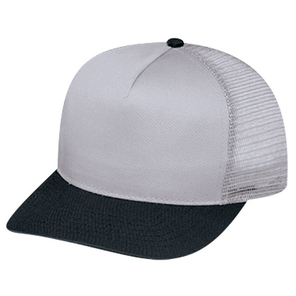 Black/ Grey - 5808M Polycotton / Nylon Mesh | HatsandCaps.ca