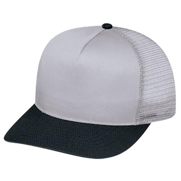 Black/Grey - 5808M Polycotton /Nylon Mesh Cap | Hats&Caps.ca