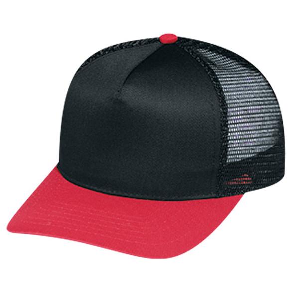 Red/Black - 5808M Polycotton /Nylon Mesh Cap | Hats&Caps.ca