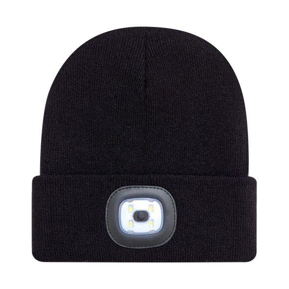 Black - 9X539M Acrylic Cuff Toque with LED Light | Hats&Caps.ca