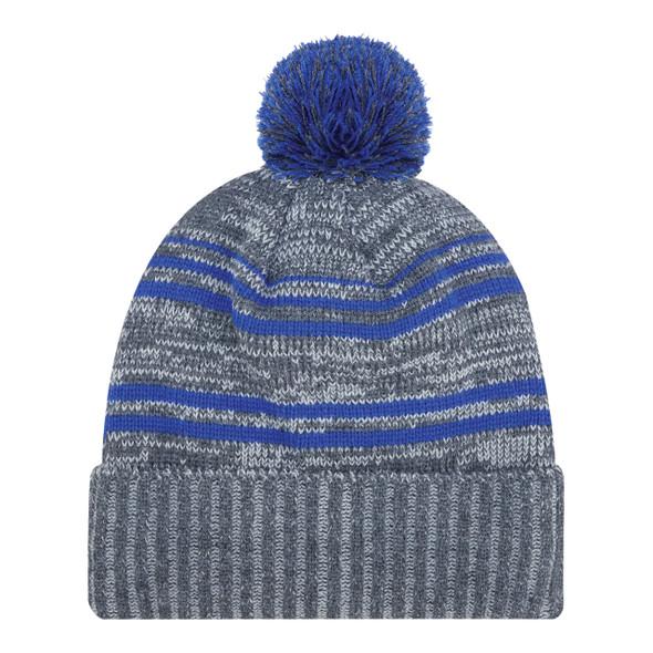 Charcoal/Royal - 9G087M Acrylic / Polyester Micro Fleece Cuff Toque (Pom Pom 8cm) | Hats&Caps.ca