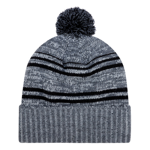 Charcoal/Black - 9G087M Acrylic / Polyester Micro Fleece Cuff Toque (Pom Pom 8cm) | Hats&Caps.ca