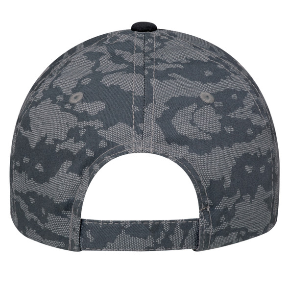 Black/Charcoal, Back - 3K867M 6 Panel Constructed Full-Fit (Urban Camo) | Hats&Caps.ca