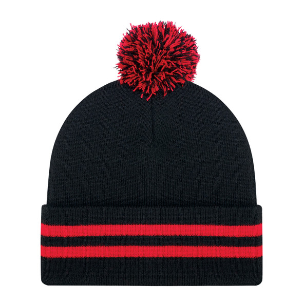 Black/Red - 9H101M Cuff Toque (Pom Pom 8cm) | Hats&Cap.ca