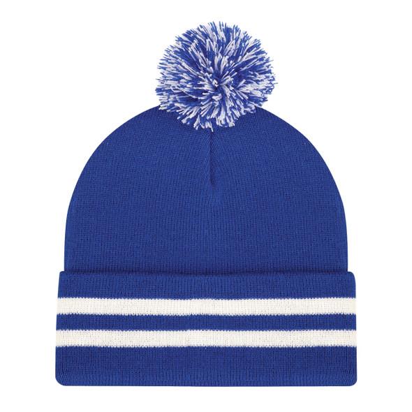 Royal/White - 9H101M Cuff Toque (Pom Pom 8cm) | Hats&Cap.ca