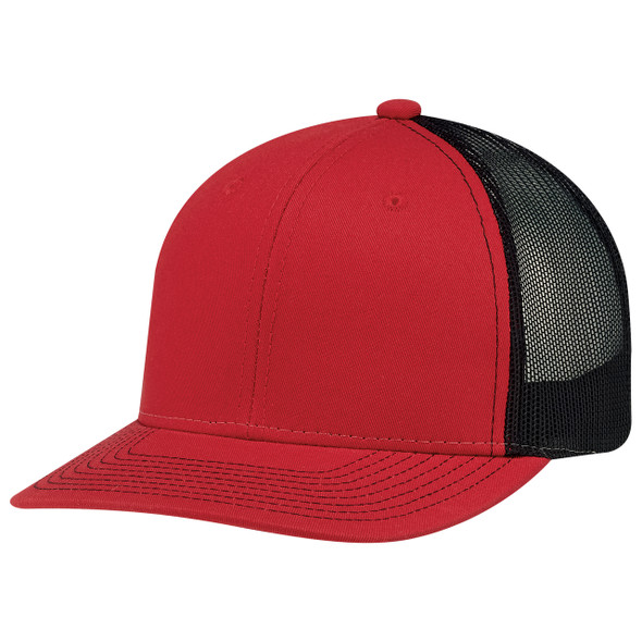 Red/Black - 8E019M Deluxe Chino Twill/ Nylon Mesh Cap | Hats&Caps.ca