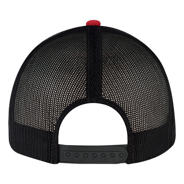 Red/Black, Back - 8E019M Deluxe Chino Twill/ Nylon Mesh Cap | BlankClothing.ca