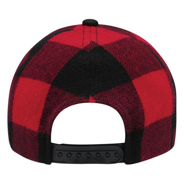 Black/Red, Back - 5Q637M 6 Panel Constructed Full-Fit (Lumberjack) Cap | Hat&Caps.ca