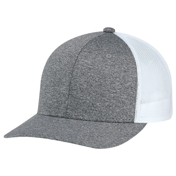 Charcoal/White - 8H018M 6 Panel Constructed Pro-Round (Mesh Back) Cap | Hats&Caps.ca