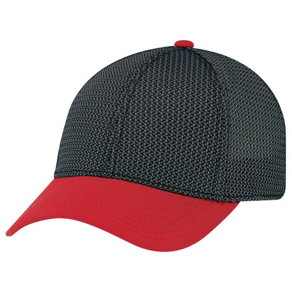 Red/Black/Charcoal - AC5016 6 Panel Constructed Contour (A-Class, A-Flex) Cap | Hatsandcaps.ca
