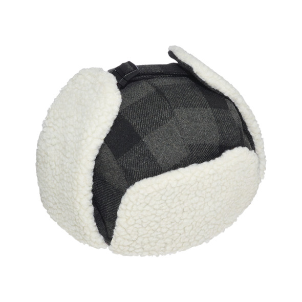 Dark Grey/Black - 1V010 Polyester / Wool with Berber Fleece Earflaps | Hats&Caps.ca