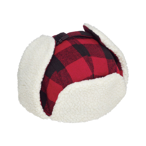 Red/Black - 1V010 Polyester / Wool with Berber Fleece Earflaps | Hats&Caps.ca