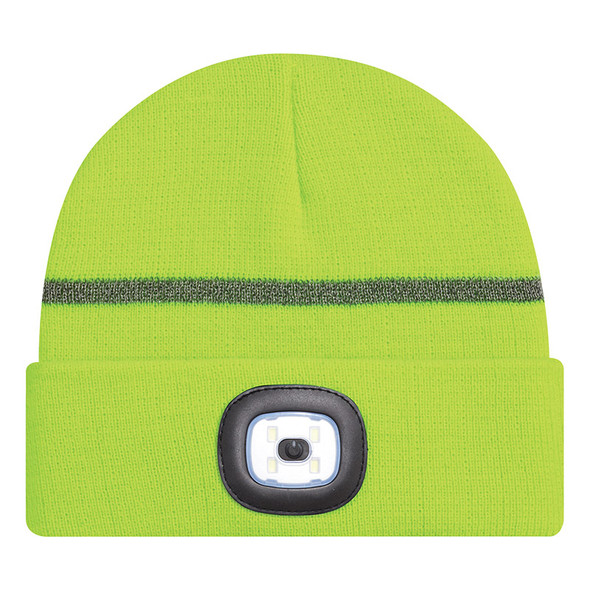 Safety Green/Reflective Grey - 9X190M Acrylic Cuff Toque with LED light | Hatsandcaps.ca