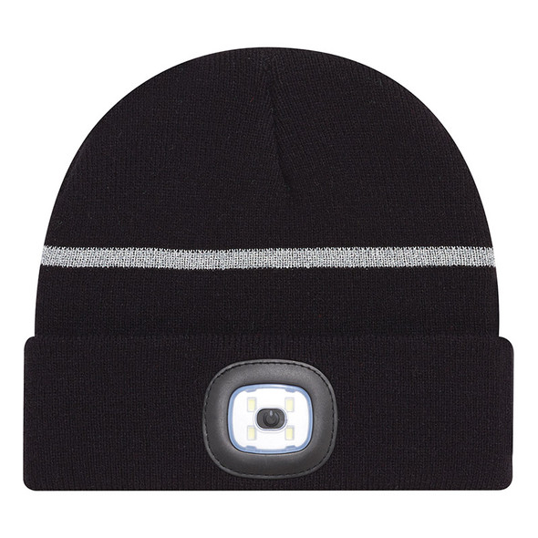 Black/Reflective Grey - 9X190M Acrylic Cuff Toque with LED light | Hatsandcaps.ca