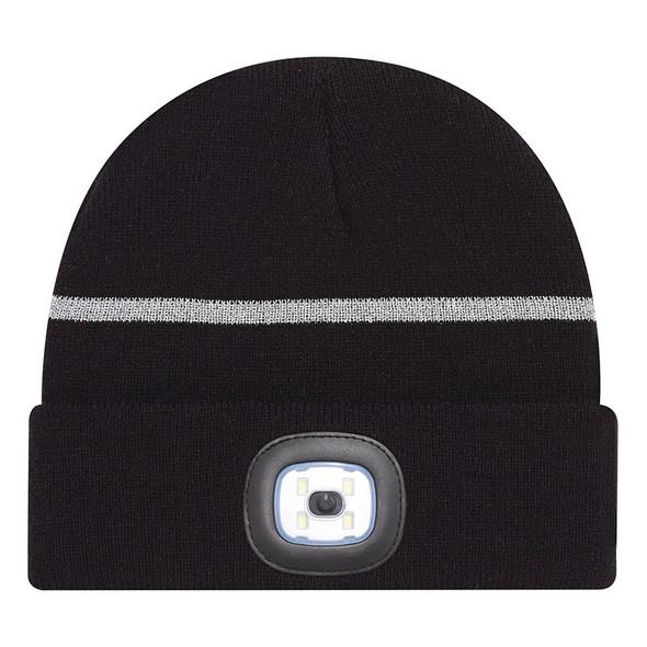 Black/Reflective Grey - 9X190M Acrylic Cuff Toque with LED light | Hats&Caps.ca