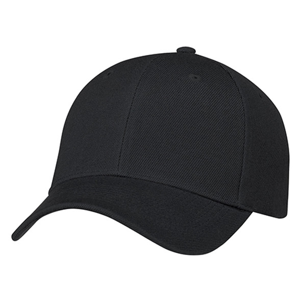 Black - 0A630M 6 Panel Constructed Full-Fit Hat | Hats&Caps.ca