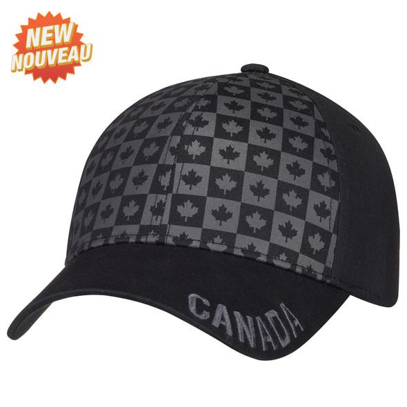 Black - 6639M 6 Panel Constructed Full-Fit (Canada) Cap | Hats&Caps.ca