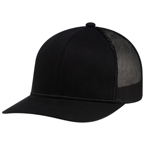 Black - 8E019B6 Panel Constructed Pro-Round (Mesh Back, Youth) Cap