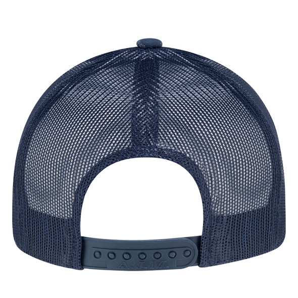 Navy/Navy - Back, 8G017M Cotton Drill/Nylon Mesh Cap | Hats&Caps.ca
