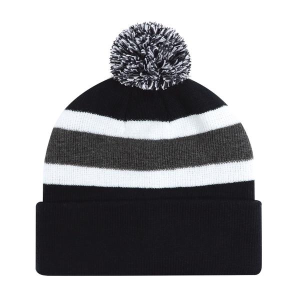 Black/Charcoal/White - 9S243M Acrylic Toque (Pom Pom 8cm) | Hats&Caps.ca