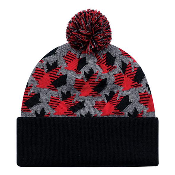 9R262M Cuff Maple Leaf with Pom Pom Toque | hatsandcaps.ca
