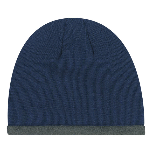 Navy/ Charcoal - 1J034M Acrylic Polyester Micro Fleece Toque with Accent Stripe | Hats&Caps.ca