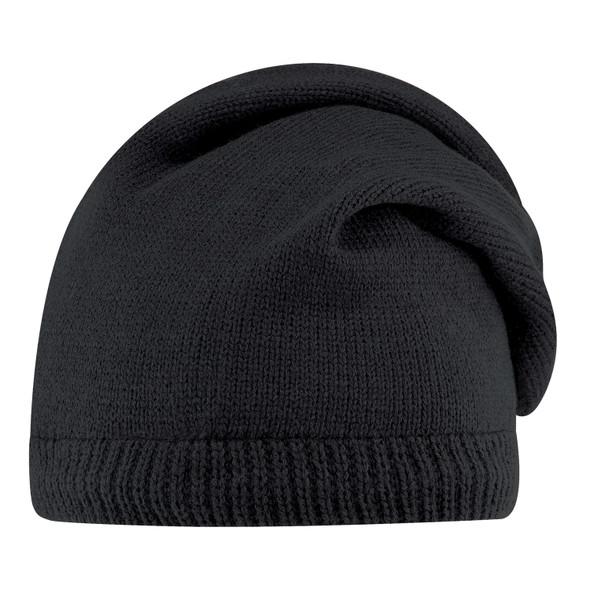 Black - 1J071M Acrylic Polyester Micro Fleece Slouchy Toque | Hats&Caps.ca