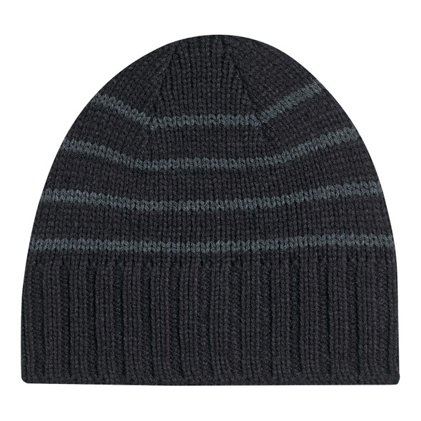 Black/ Charcoal - 1C174M Acrylic Polyester Micro Fleece Board Toque | Hats&Caps.ca
