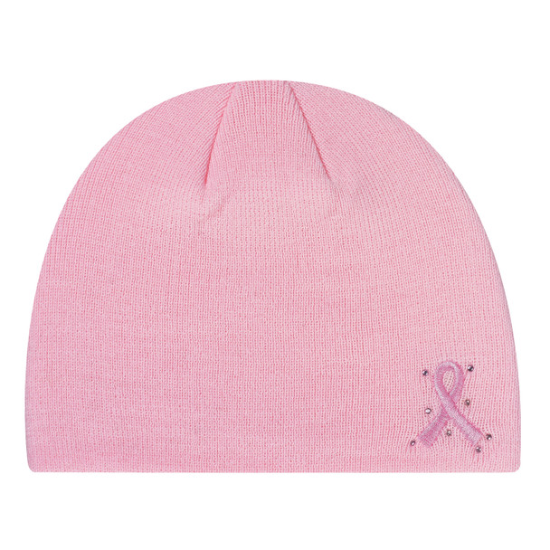 Pink - 0290M Ladies Pink Ribbon Acrylic Toque | Hats&Caps.ca