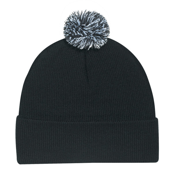 Black/Charcoal/White - 9E064M Tri-Coloured Pom Pom Toque | Hats&Caps.ca