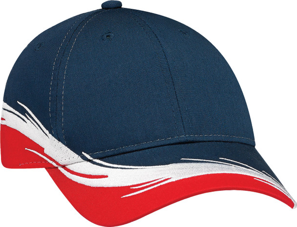 Red/Navy - Poly/Cotton Constructed Full-Fit Flare Cap | Hats&Caps.ca