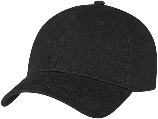 Black - Brushed Cotton Drill Constructed Full-Fit Cap | Hats&Caps.ca