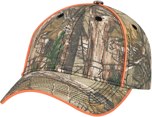 Realtree Xtra®/Fluorescent Orange - Poly/Cotton Camouflage Constructed Full-Fit Cap | Hats&Caps.ca
