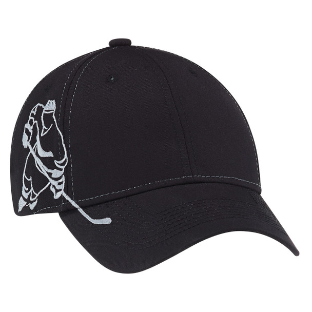 Black - 5680M Polycotton Hockey Cap | Hats&Caps.ca