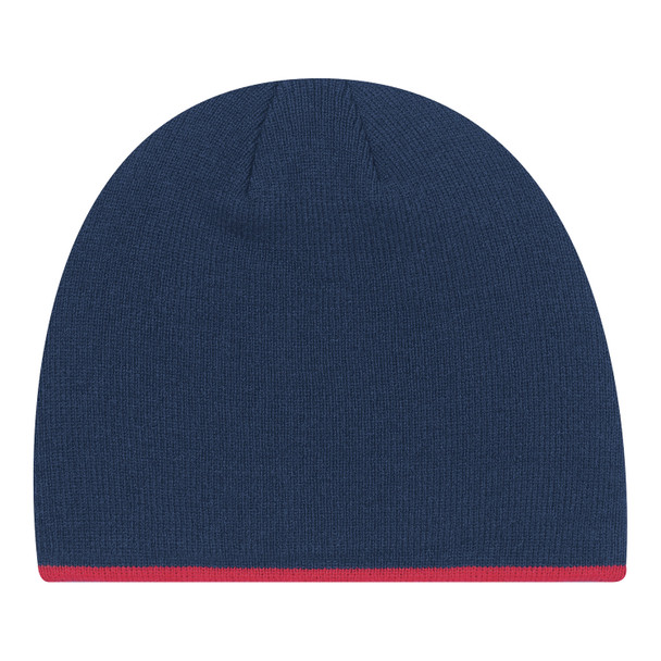 Navy/ Red - 0034M Acrylic Toque with Accent Stripe | Hats&Caps.ca