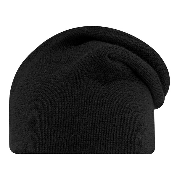 Black - 0070M Acrylic Slouchy Board Toque | Hats&Caps.ca